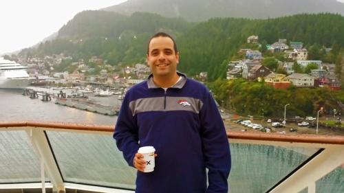 Drinking coffee aboard Celebrity Cruise in Ketchikan, Alaska
