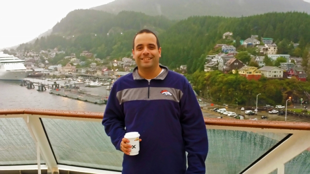 Drinking coffee aboard Celebrity Cruise in Ketchikan, Alaska