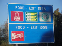 Freeway food signs - Coffee Houses included