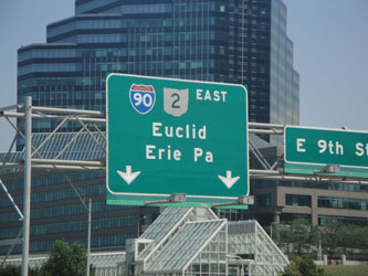 Downtown Cleveland Ohio - Eastbound I-90 along Lake Erie shoreline