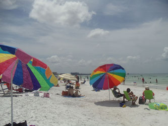 Siesta Key Beach, Florida, colorful umbrellas