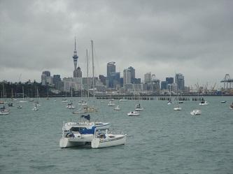 Auckland, New Zealand skyline - from Okahu Bay, by the aquarium