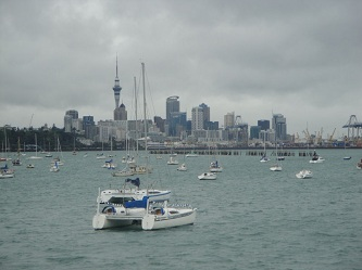 Auckland, New Zealand skyline - from Okahu Bay, by the aquarium