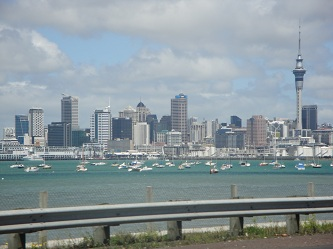 Auckland, New Zealand skyline - from the Auckland Harbour Bridge traveling northbound