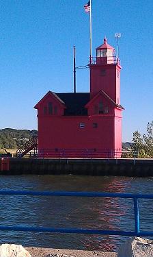 Holland Big Red Lighthouse along Lake Michigan