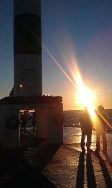Lake Michigan at Sunset at Holland State Park. Romantic spot at end of pier.