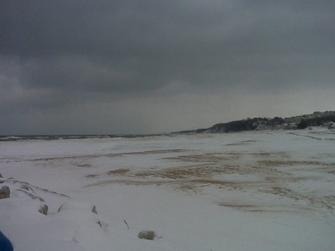 Holland State Park Beach. Snow in the winter.