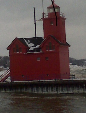 Holland Big Red Lighthouse in the winter