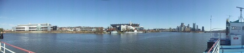 Pittsburgh - Ohio River - Panoramic river, skyline, Heinz Field shot