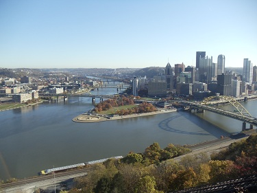 Pittsburgh skyline, Point State Park, three rivers view