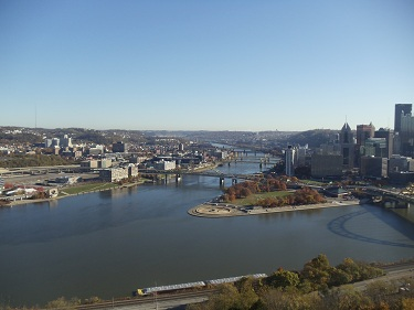 Pittsburgh - skyline, Point State Park, three rivers view