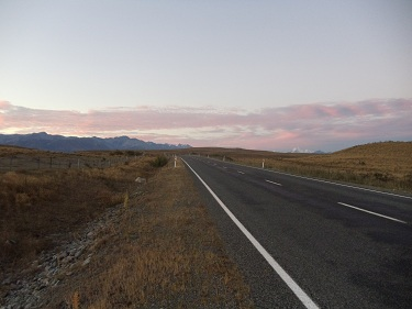 On the open road. Between Lake Tekapo and Mount Cook Village in New Zealand.