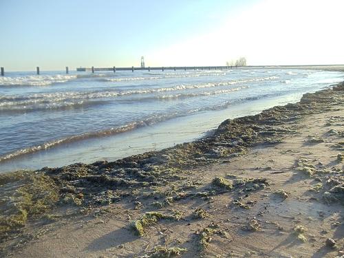 Chicago - North Avenue Beach winter sand, Lake Michigan
