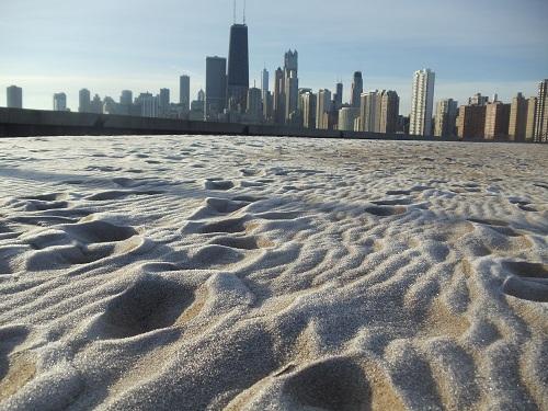 Chicago skyline - North Avenue Beach, Winter