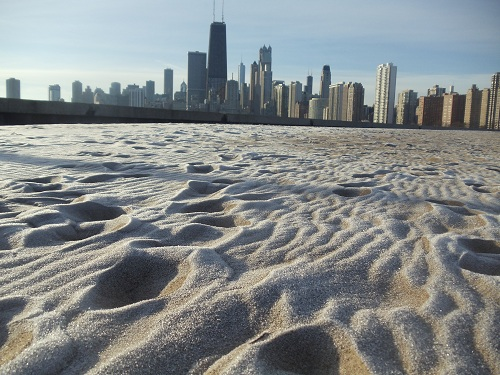 Chicago skyline - North Avenue Beach, Winter