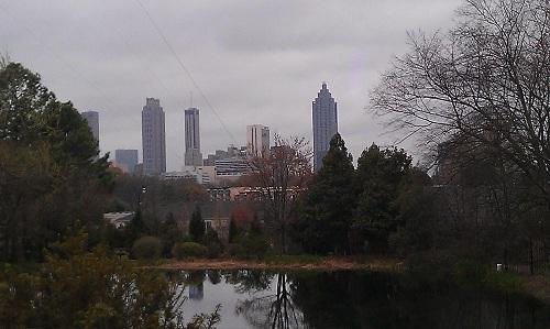 Jimmy Carter Library & Museum - Atlanta, Georgia - gardens, downtown skyline
