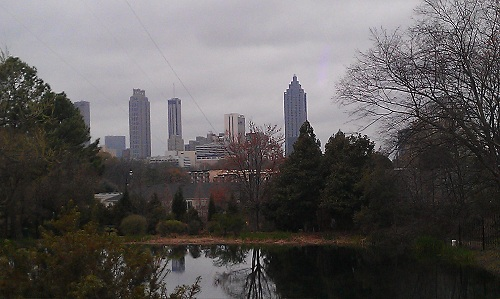 Jimmy Carter Library & Museum - Atlanta, Georgia - gardens, downtown skyline