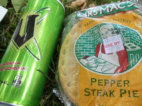 The V Energy Drink, meat pies, New Zealand