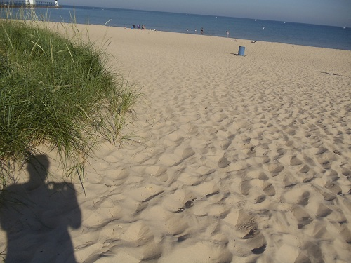 St. Joseph, Michigan - white beach sand and dunes of Tisconia Park, Lake Michigan