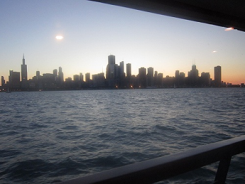 Chicago skyline from Lake Michigan.