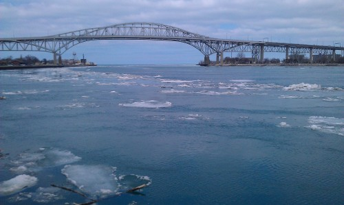 Blue Water Bridge, St. Clair River in winter.