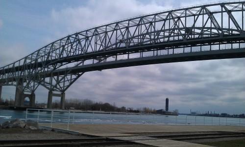 Blue Water Bridge, St. Clair River in winter.