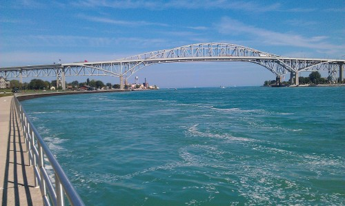 Port Huron, Michigan - Blue Water Bridge. St. Clair River.