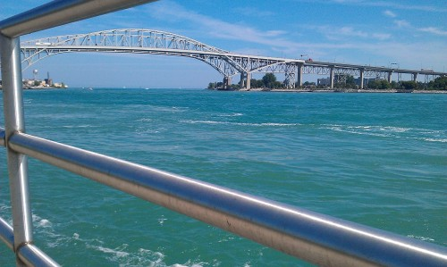 Port Huron, Michigan - Blue Water Bridge. St. Clair River.