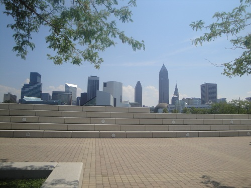 Cleveland, Ohio skyline - Voinovich Park, Lake Erie