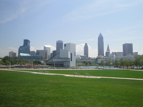Cleveland, Ohio night skyline - Voinovich Park, Lake Erie