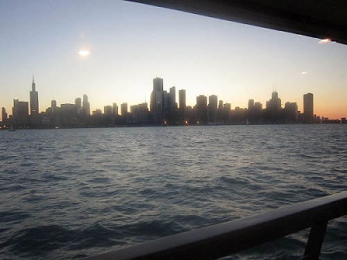 Chicago skyline at dusk from Lake Michigan