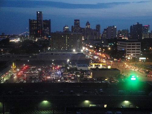 Detroit, Michigan night time skyline