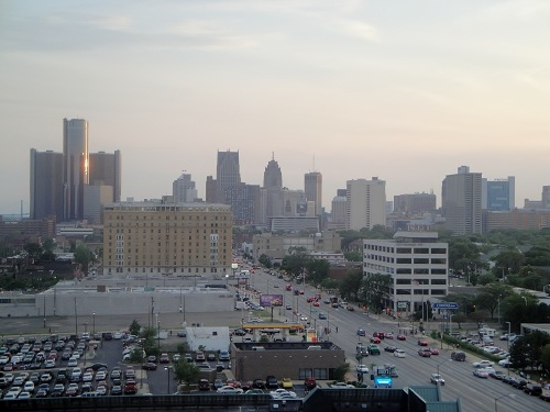 Detroit, Michigan day time skyline