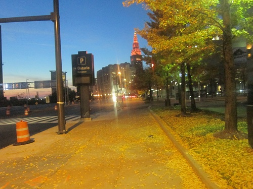 Cleveland and Terminal Tower at dusk, Autumn