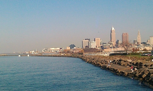 Cleveland skyline from Edgewater Park using HTC Desire HD Android