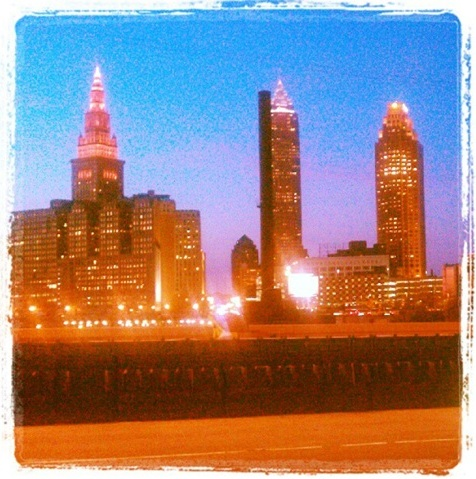 Cleveland skyline from Hope Memorial Bridge, dusk