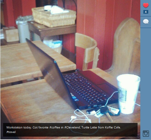 Working at Koffie Cafe, Ohio City neighborhood, Cleveland