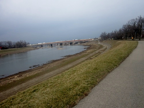 Daytona, Ohio, skyline, Deeds Park, Great Miami River Trail