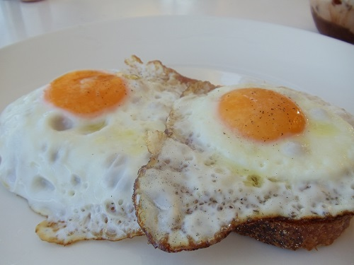 Poached eggs on Sourdough Bread at Sydney Cove Oyster Bar in Australia