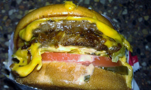 Double-Double Cheeseburger Animal Style at In-N-Out Burger in Daly City, California