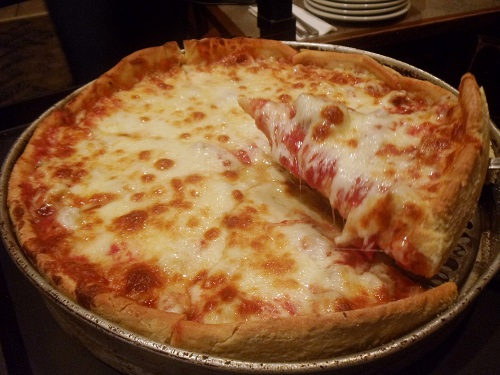Chicago-style deep-dish pizza at Exchequer Pub