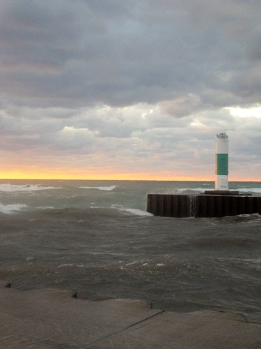 South Haven, Michigan, Lake Michigan, lighthouse, pier, beach at sunset