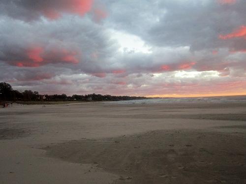 South Haven, Michigan, Lake Michigan, lighthouse, pier, beach at sunset