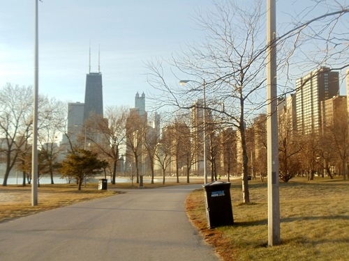 Chicago, Lake Shore Drive bike path, Lake Michigan, skyline