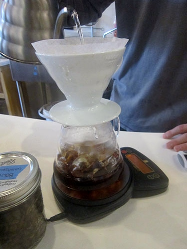 Press Coffee Bar, Dayton, Ohio, iced coffee pour over