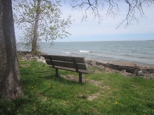 Ohio, park bench, Lake Erie