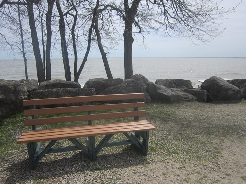Ohio, park bench, Lake Erie