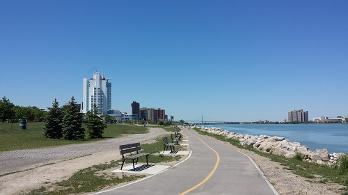 Windsor Riverwalk, Casino, park benches, bike path