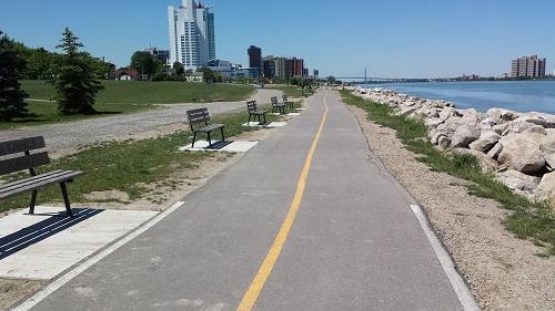 Windsor Riverwalk, bike path, park benches
