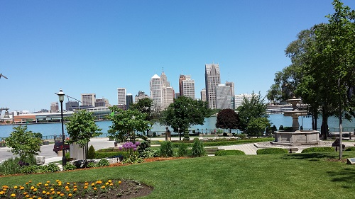 Windsor Riverwalk, gardens, Detroit river, skyline